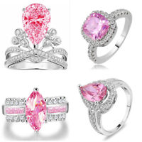Women's Fashion 925 Sterling Silver Pink Topaz Gemstone Rings Size6/7/8/9/10 New