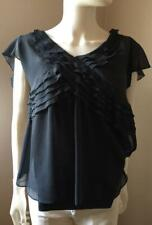 Blouse Navy Sheer w/Matching Cami by Banana Republic Size 4 S/S  2 Pcs   #42R