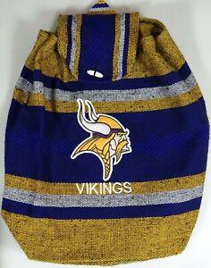 Minnesota Vikings Football Backpack Knapsack Tote NFL Woven Drawstring Flap