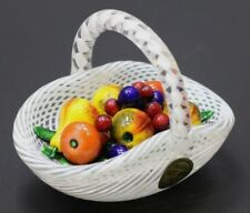 LARGE Glamorous SAINT LOUIS Latticino Fruit BASKET Art Glass PAPERWEIGHT