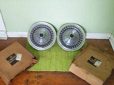 "NOS 71 72 73 74 75 76 77 78 Plymouth Wire HUBCAPS 15"" Set of  2 Dodge Chrysler"