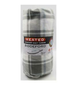 """Biddeford Comfort Knit Fleece Heated Electric Throw Blanket 50 x 62"""" Grey Buffal"""