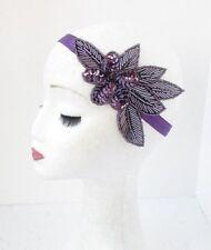 Purple Sequin Beaded Headband Headpiece Vintage 1920s Great Gatsby Flapper 4756