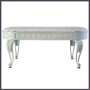 Dining Bench Iron Frame in White Color With White Color Wicker Cushion Seat NEW