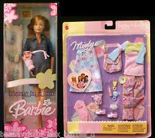 "Pregnant Midge & Baby Barbie Doll Happy Family Fashion Tummy Bump Denim Dress """