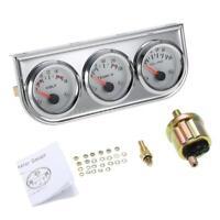 3in1 Voltmeter +Water Temp +Oil Pressure Auto Gauge Meter 52MM Triple Gauge E0I9