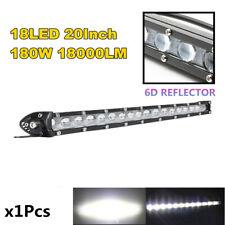 20''180W 18000LM 6D Spot Beam Slim LED Work Light Bar Single Row Car SUV Offroad