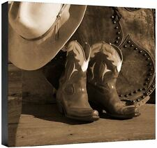 End Of Day Robert Dawson Cowboy Boots Saddle Bags Hat  Fine Art Canvas 36x36