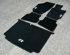 Black Car Mats - VW/Volkswagen Polo (09 on) + Silver R Line Logos + Boot Mat