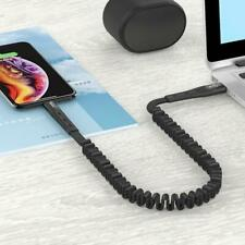 USB Elastic Stretch Data Cable Nylon Braid Retractable Fast Charger For iPhone