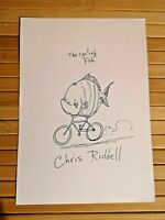 "Original Chris Riddell artwork - SIGNED ""The Cycling Fish"" - pencil drawing"