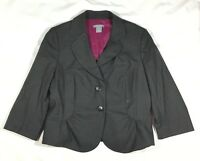 EUC Women's Ann Taylor Virgin Wool Charcoal Gray 3/4 Sleeve Blazer-Size 12P