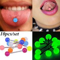 10PCS/Set Luminous Ball Barbell  Stud Tongue Rings Bars Body Piercing Jewelry HK