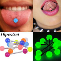 10 Pcs/Set Luminous Ball Barbell  Stud Tongue Ring Bars Body Piercing Jewelry BR