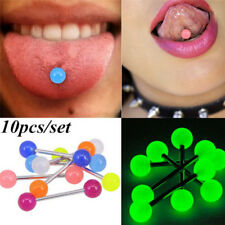 10PCS/Set Luminous Ball Barbell  Stud Tongue Rings Bars Body Piercing Jewelry LY