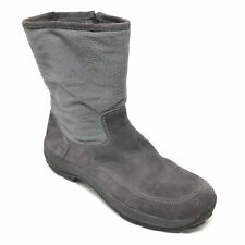 Men's LL Bean Winter Boots Shoes Size 10M Gray Suede Insulated Side Zip Up AF11
