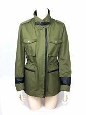 MAJE $795 Military Green Parka Jacket with Leather details, SIZE IT 40/US 6/UK 8