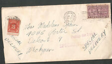 1943 cover postage due Special Delivery cover Robert Hamer E Lansing to Detroit