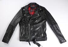 Tommy Hilfiger Mens Black Leather Jacket Motorcycle Biker L Large