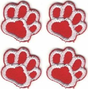 Lot De 4 Rouge Blanc Chien Animal Patte Imprimé Broderie Patch
