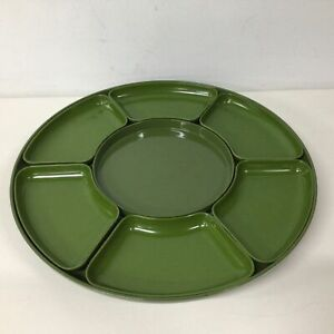 Retro Green Melamine Lazy Susan With Removable Sectioned Bowls 41.5cm Dia. #454