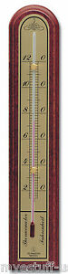 Hokco Analog Wall Thermometer Wood Mahogany Finish Brass Fahrenheit Scale 10 in.