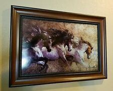 Laurie prindle western 3 horses  art work on metal framed art  22 x 16