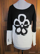 Desigual Yes Sweater Knit Top Flower Daisy Black White Heart Long Sleeve Women L