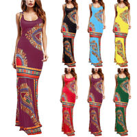 Womens Boho Floral Sleeveless Dashiki Maxi Long African Evening Cocktail Dress