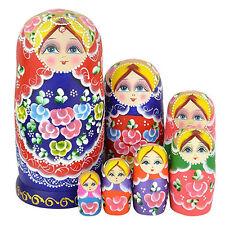 7 stk/satz Bunte Blumen-Mädchen-Nesting Dolls Matroschka Madness russisch eejj