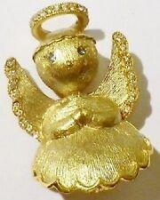 broche bijou rétro ange en relief finement strié avec cristaux couleur or * 5125