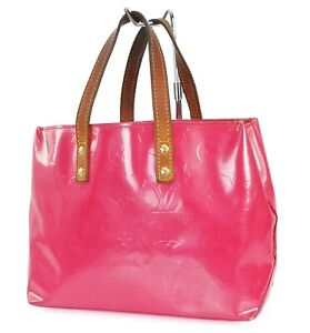 Auth LOUIS VUITTON Reade PM Framboise Pink Vernis Leather Tote Hand Bag #39159