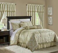 Chezmoi Collection Roman 7-Piece Gold Beige Floral Mosaic Jacquard Comforter Set