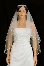 "2T Ivory Fingertip Length 1/8"" Ribbon Edge Center Gathered Bridal Wedding Veil"
