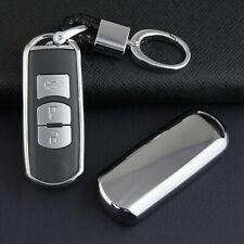 Silver Key Fob Chain Cover Case For Mazda 2 3 6 CX3 CX5 CX9 MX5 Toyota Yaris iA