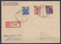 DF8136/ GERMANY SOVIET ZONE CHEMNITZ – MI # 167 + 176 + 178 ON COVER SIGNED TWIC