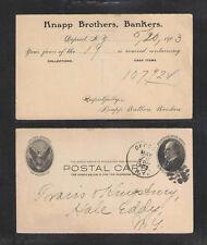 1903 KNAPP BROTHERS BANKERS DEPOSIT NY US POSTAL CARD UX18