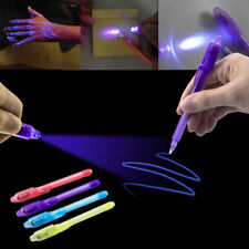 2X Invisible Ink Pen Built in UV Light Marker Secret Message D-etector Pen