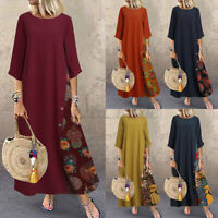 Women Vintage Floral Casual Loose Long Maxi Kaftan Caftan Abaya Dress Plus Size