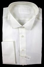 ITALO FERRETTI White French Cuff 100% Silk Wing Collar Tuxedo Shirt 17 43 XL NWT