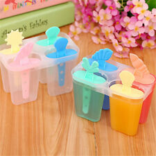 4 cell ice cream pop mold popsicle maker lolly mould tray pan diy   X