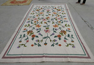 6' X 10.6' Beautiful Hand Woven Needlepoint Rug Full Floral Ivory Violet Peach