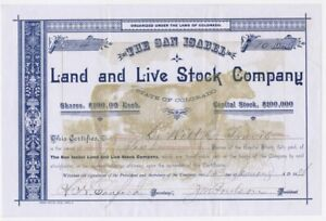 1886 STOCK Certificate 🚩 SAN ISABEL Land & Live Stock Co. COLORADO
