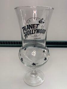 Planet Hollywood London Hurricane Tall Cocktail Glass Black Stars & Logo VG