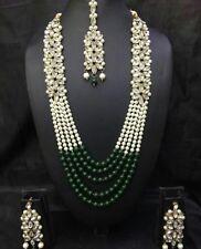 Indisch Hochzeit Braut Modeschmuck Halskette Ohrring Gold Perlen Schmuck Set