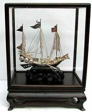 Vintage H K Sterling Silver Junk Ship In Custom Wood & Glass Covered Case