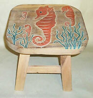FOOTSTOOLS -  SEAHORSE WOODEN FOOTSTOOL - SEA HORSE FOOT STOOL - NAUTICAL DECOR