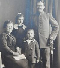 Pre-WWI Germany German Officer w Family Sword Moustache CDV Real Photo