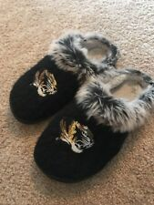 Missouri Tigers Black Gold Sequin Faux Fur Slip On Loafers Mules