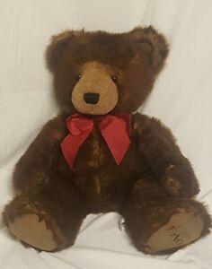 "FAO Schwarz Teddy Bear Brown Large 24"" Plush Big Stuffed Animal Red Ribbon"